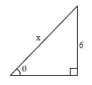 Right triangle with opposite side of 6 and hypotenuse of x